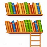 Illustrated Bookshelves with Books and Ladder