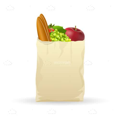 Shopping Bag FIlled with Fresh Products