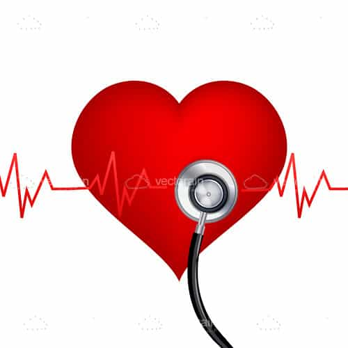 Red Heart with Cardiograph and Stethoscope