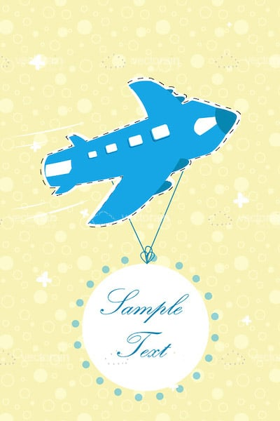 Illustrated Blue Airplane Background with Sample Text