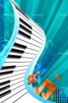 Abstract Cartoon Keyboard with Musical Notes and Blue Striped Background