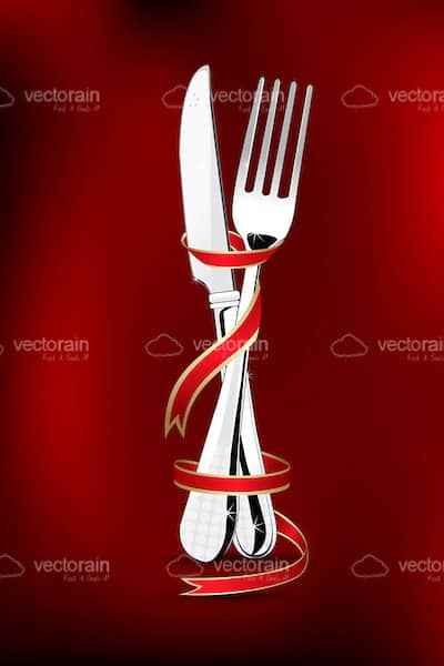 Silver Knife and Fork Wrapped in Red Ribbon