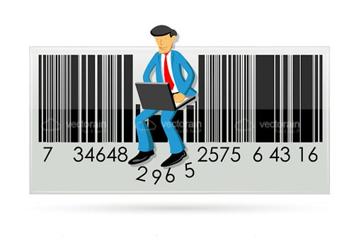 Businessman Sitting on a Barcode with a Laptop