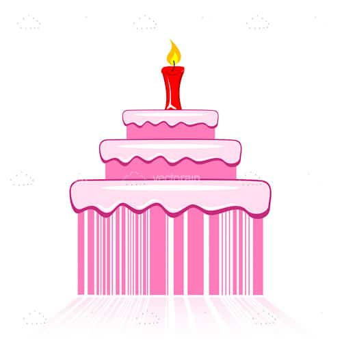 Pink 3 Layered Cake with a Candle and Barcode Design Base