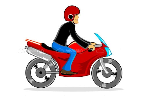 2D Illustrated Man Driving a Red Motorbike