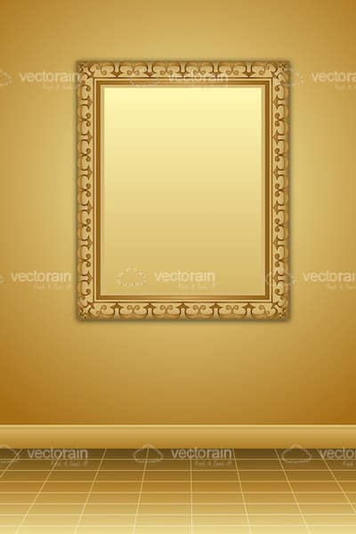 Golden Room with a Frame Hanging from the Wall
