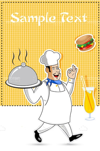 Illustrated Chef with Serving Tray and Sample Text