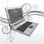 Abstract Laptop with Floral Design in Sketch Style