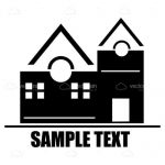 Abstract Black and White House with Sample Text