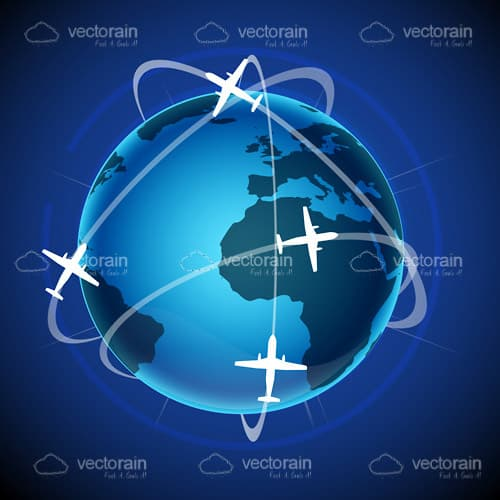 An Illustrated Globe with 4 Airliners with Path Lines Traveling Around