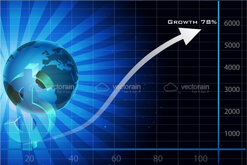 Financial Growth Chart with Black and Blue Background with a Dollar Logo and Earth Icon