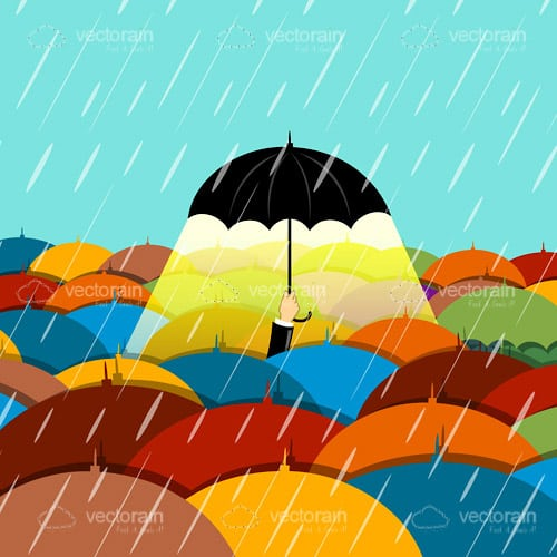Black Illuminated Umbrella Under Rain in Sea of Colourful Umbrellas