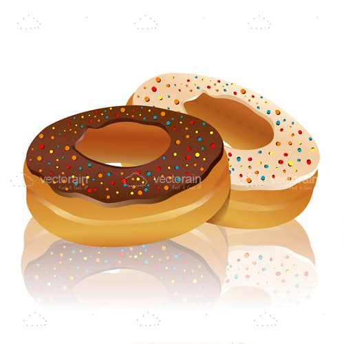 Illustrated Doughnuts with Icing and Sprinkles