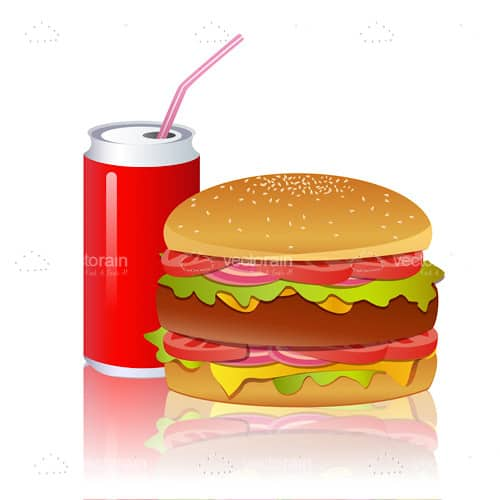 Illustrated Burger with Soda Can