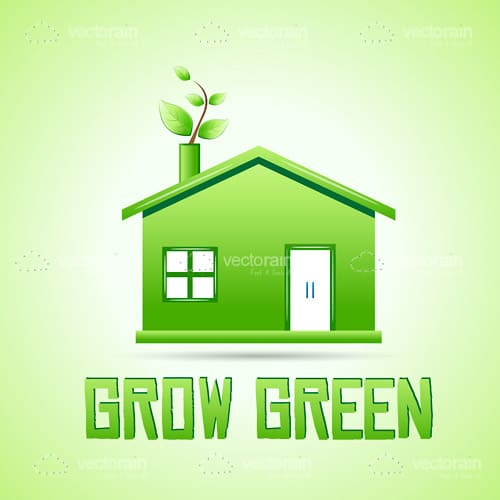 Abstract Green House with Plant in Chimney and Grow Green Text