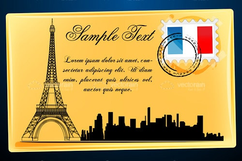 Post Card Design with Eiffel Tower, French Flag Stamp and Sample Text