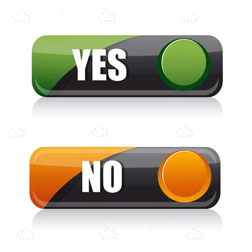 Rectangular Yes and No Buttons