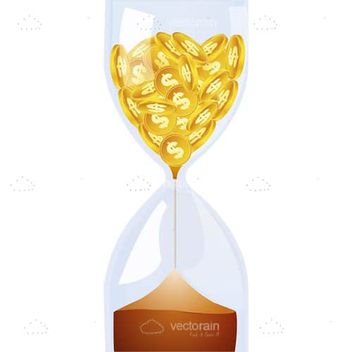 Transparent Hourglass with Golden Coins
