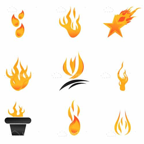 Abstract Fire Flames Icon Set