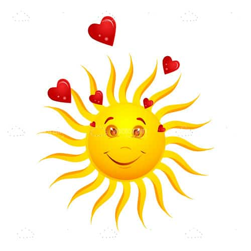 Bright Yellow Sun with Red Hearts