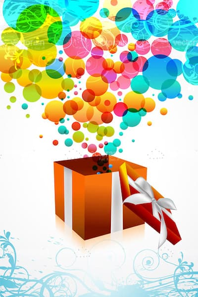 Gift Box with Colourful Bubbles
