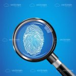 Magnifying Glass Over a Fingerprint on a Blue Background