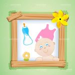 Abstract Wooden Photo Frame with Baby Picture