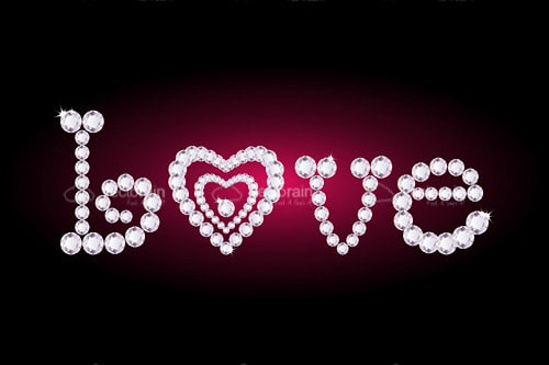Love Text with Diamonds and Heart Shape