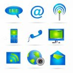 Blue and Green Communications Icon Set