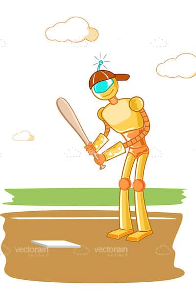 Golden Robot Wearing a Baseball Cap and Playing Baseball