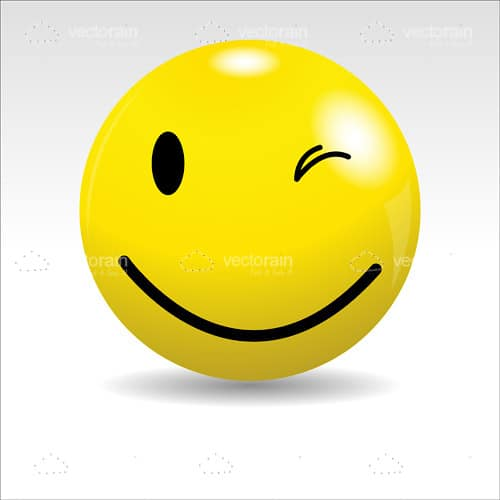 Glossy Yellow Ball with a Winking Smiley