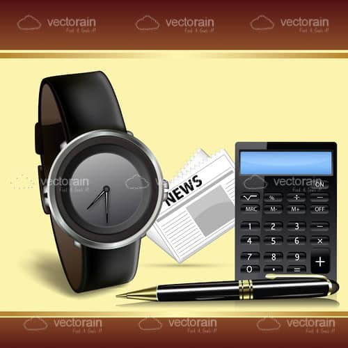Executive Items Set with Watch, Newspaper, Calculator and Pen