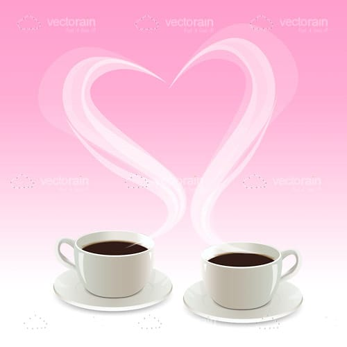 Pair of Coffee Cups and Heart Shaped Steam