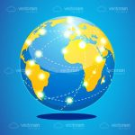 Earth Globe with Routes Lines and Bright Location Dots