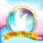 World Peace Badge with White Dove and Multicolour Background