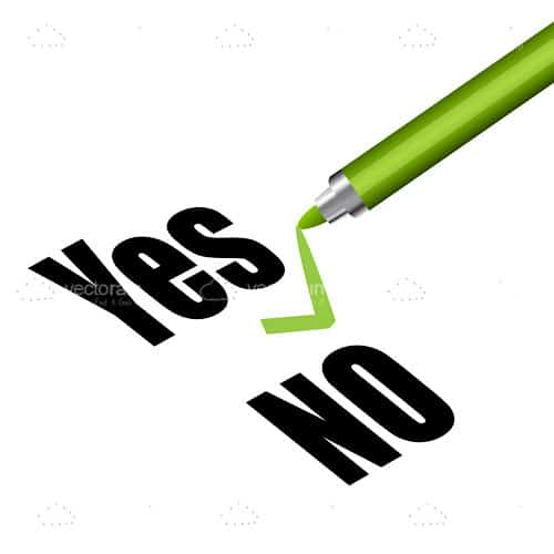 Yes and No Text with Green Market and Tick Mark