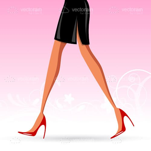 Female Legs with a Black Skirt and Red Heels