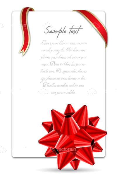 White Card with Red Ribbon and Bow and Sample Text