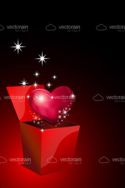 Glossy Red Heart with Sparkles in Gift Box