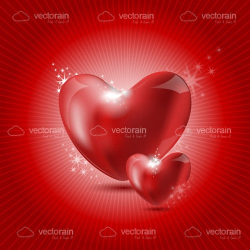 A Pair of Glossy Red Hearts on a Red Hued Background