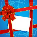 Gift Design with Red and Gold Ribbon, Floral Background and White Card