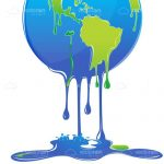 Earth Globe Melting and Dripping Blue
