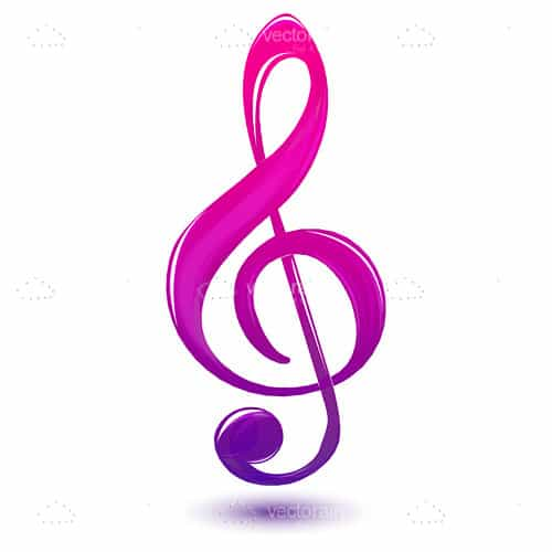 Purple Musical Icon on a White Background