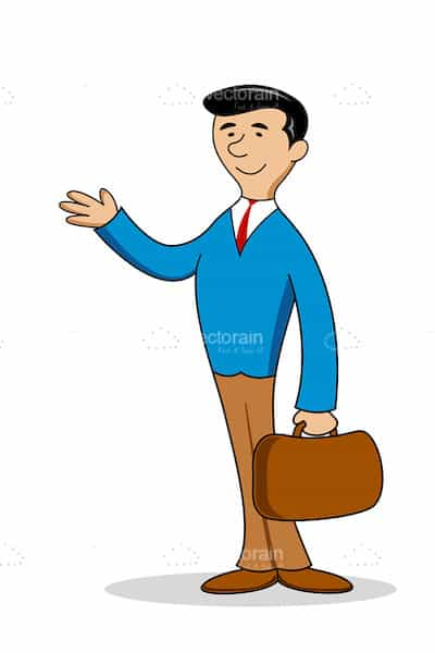 Illustrated Businessman with Briefcase