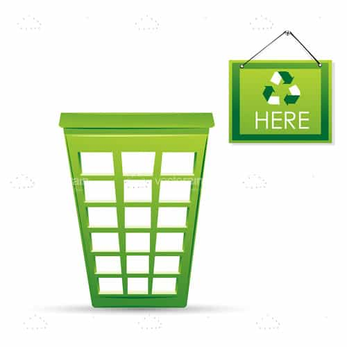 Abstract Green Dustbin with Recycle Sign