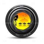 Abstract Camera Lens with Sunny Beach Scene Inside