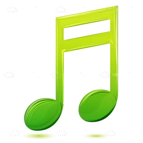 Large Green Musical Note Icon on a White Background