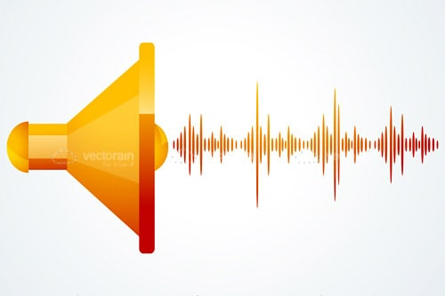 Abstract Orange Speaker with Sound Waves