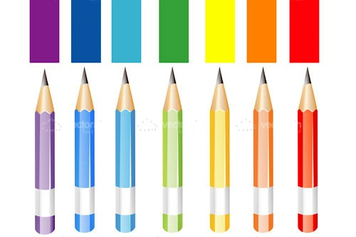 7 Different Coloured Pencil Icons with Colour Patch