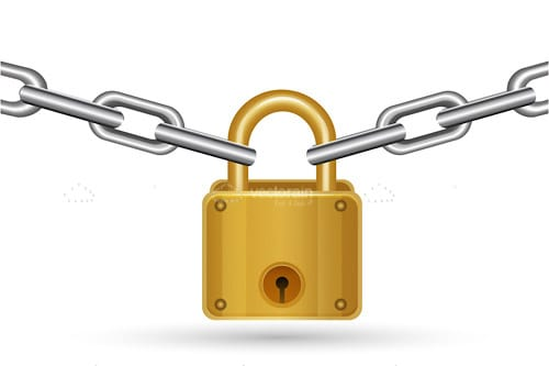 Golden Padlock with Silver Chain